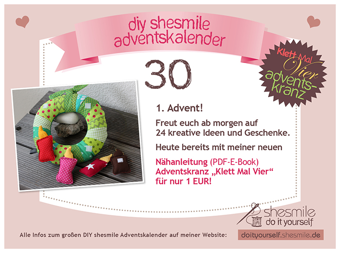 los gehts mit meinem diy shesmile adventskalender shesmile. Black Bedroom Furniture Sets. Home Design Ideas