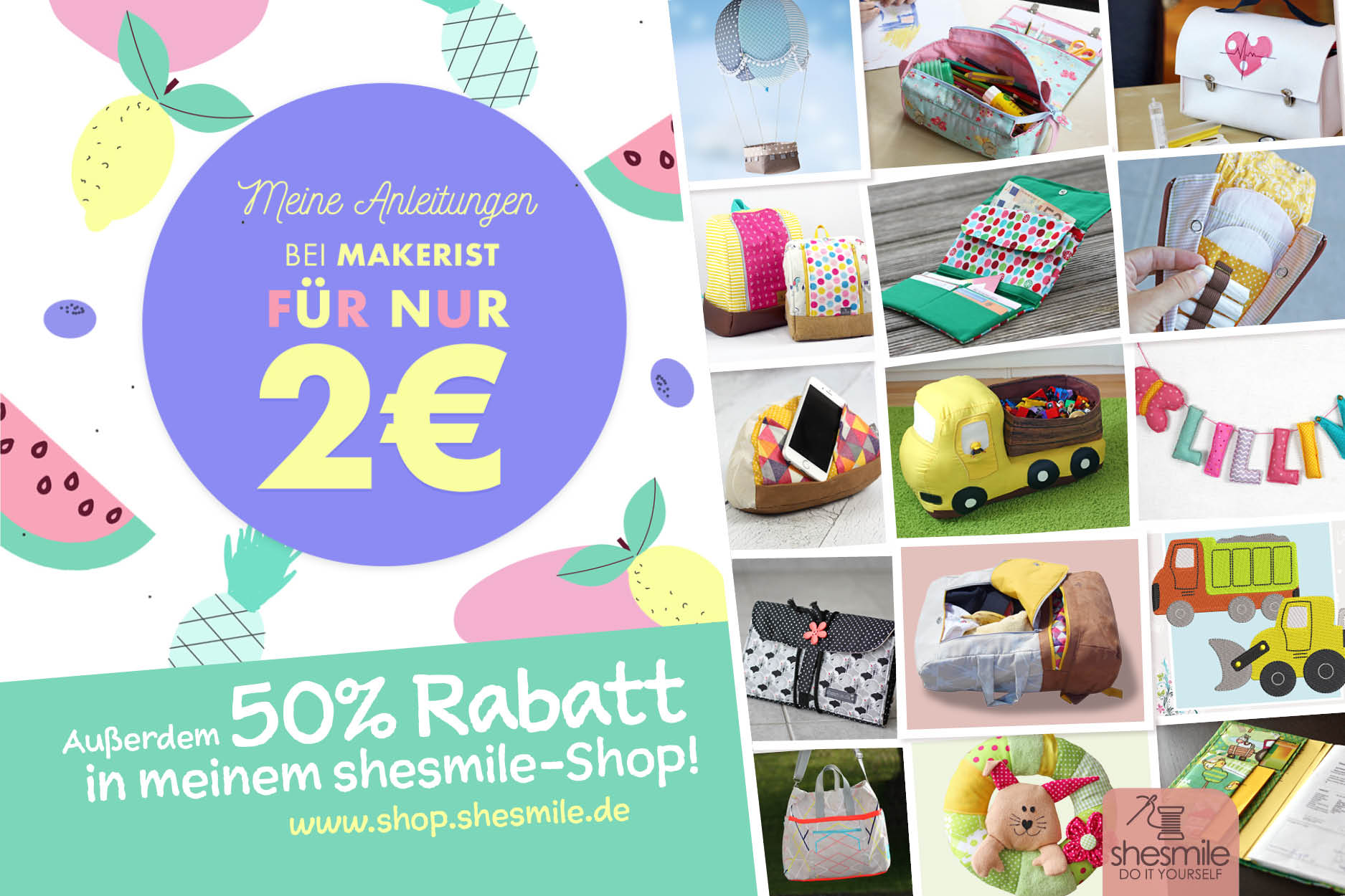 2 EUR Aktion bei Makerist + 50% Rabatt-Aktion bei shesmile!