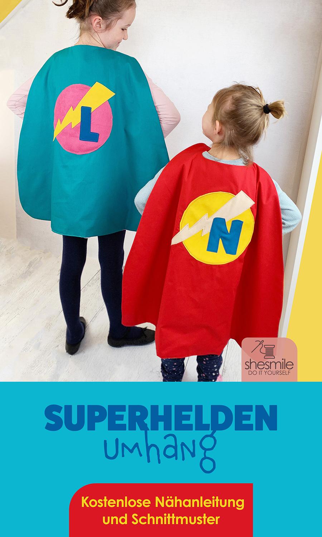 Einen Superhelden Umhang Für Kinder Nähen Ein Freebook Von Kid5 Shesmile
