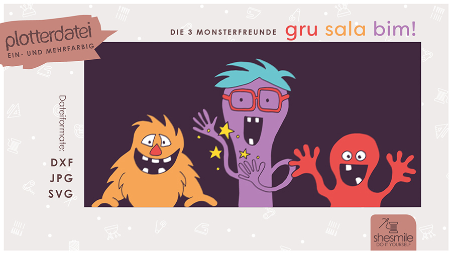 Gru Sala Bim - die 3 Monsterfreunde (Plotterdatei, Illustration und Ausmalbild)