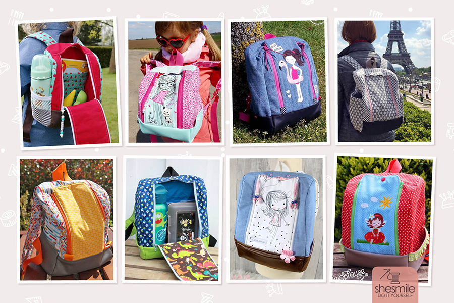Sewing instructions and pattern in 2 sizes from shesmile as a PDF-E-Book for a rucksack KlapPack with a large, practical flap opening.