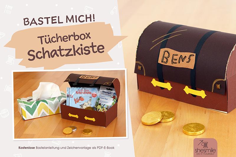 Schatzkiste aus t cherbox kostenlose bastelanleitung for Schatzkiste basteln