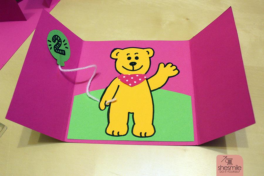 Einladungskarte Bärengeburtstag (Bastelanleitung & Zeichenvorlage)