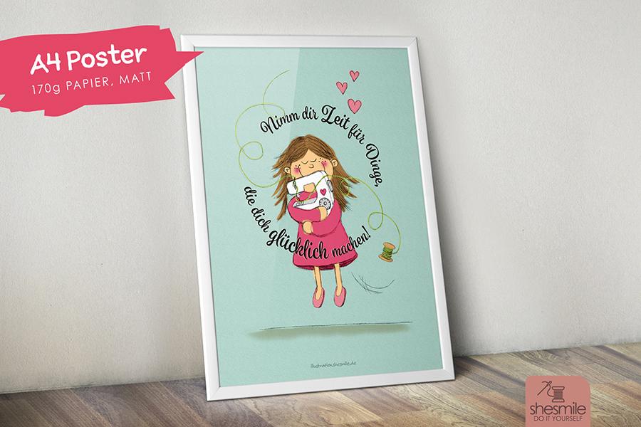 Betty mit der Nähmaschine (Gedrucktes A4 Poster)