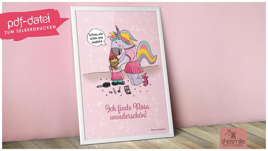 Einhörner lieben Rosa! (Illustration und Druckvorlage)
