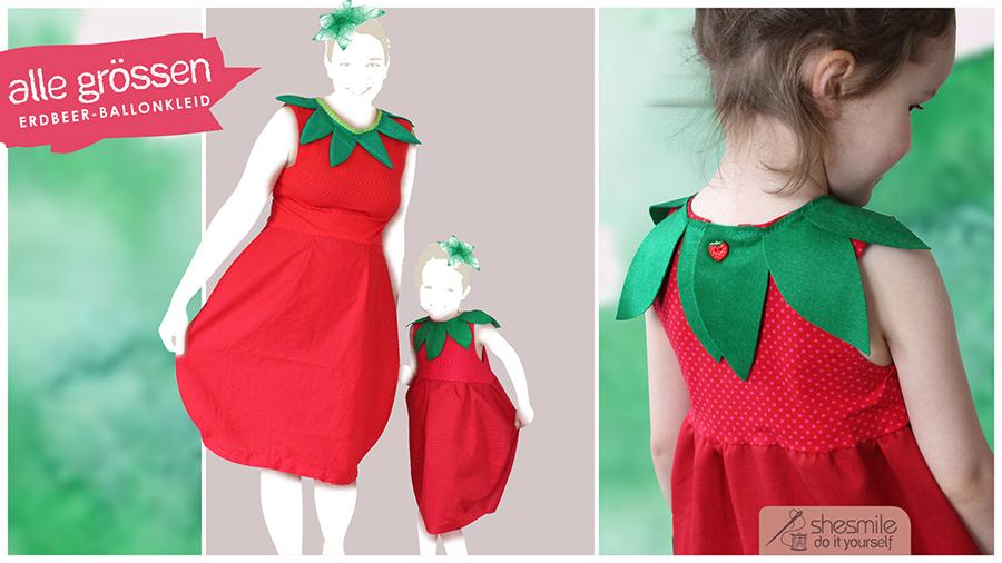 Kostüm Erdbeere-Ballonkleid (Nähanleitung für alle Größen)