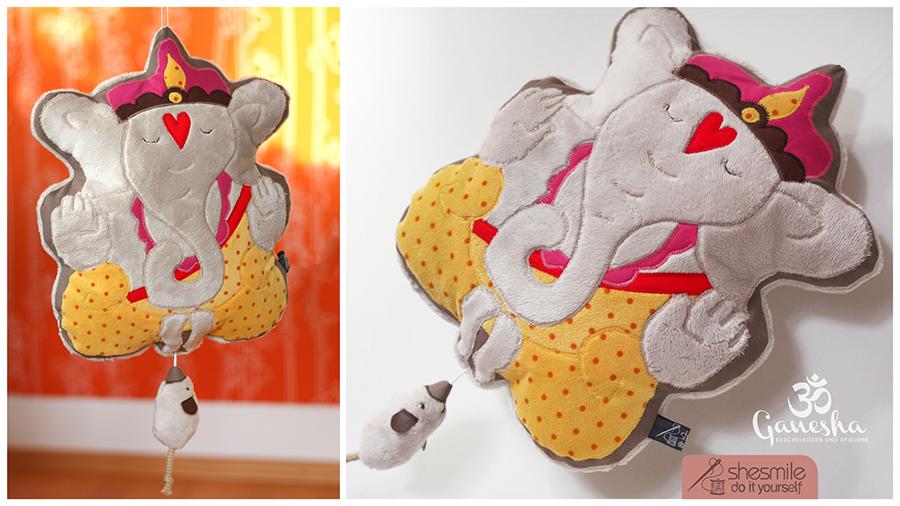 Glücksbringer-Kuschelkissen und Spieluhr Ganesha (Nähanleitung, Schnittmuster und Plotterdateien)