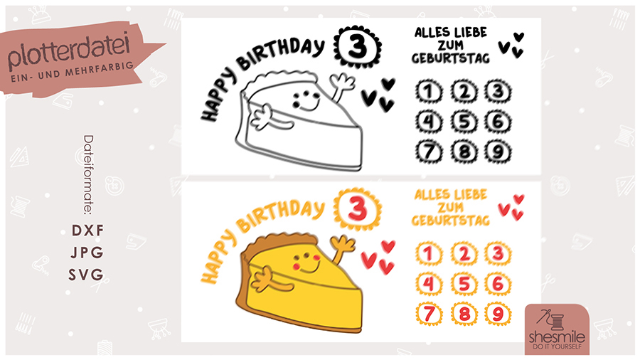 Käsekuchen Geburtstag (Plotterdatei und Illustration)