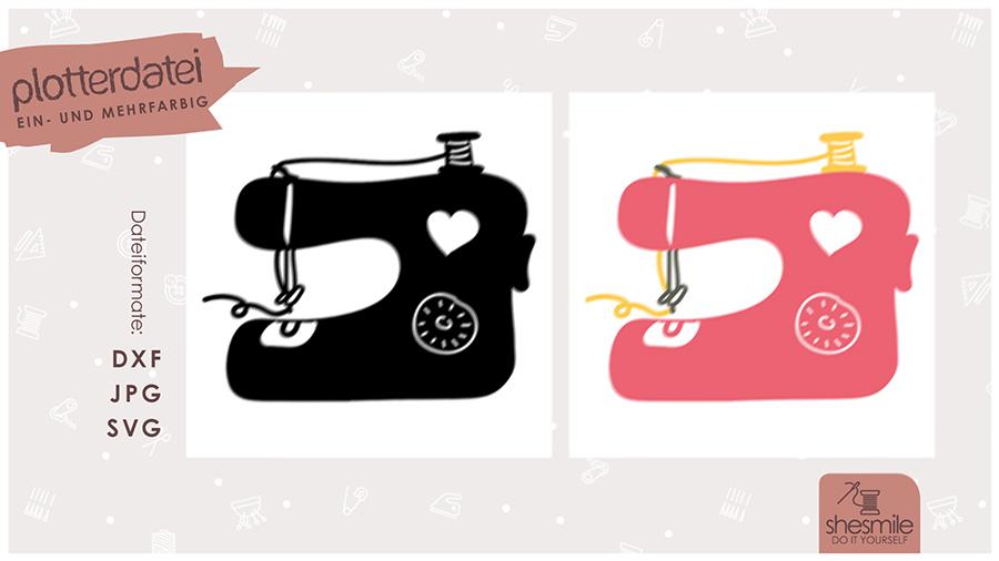 Nähmaschine mit Herz (Plotterdatei und Illustration)