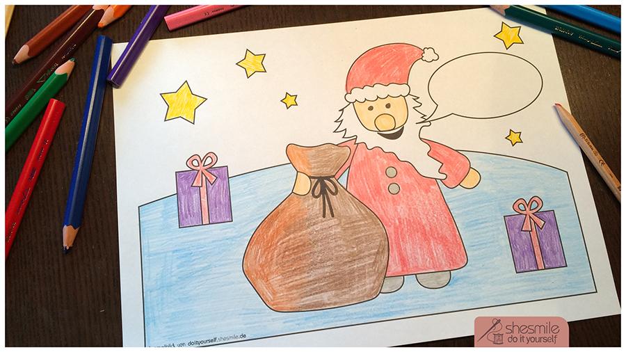 Nikolaus mit Geschenken (Kostenloses Ausmalbild)