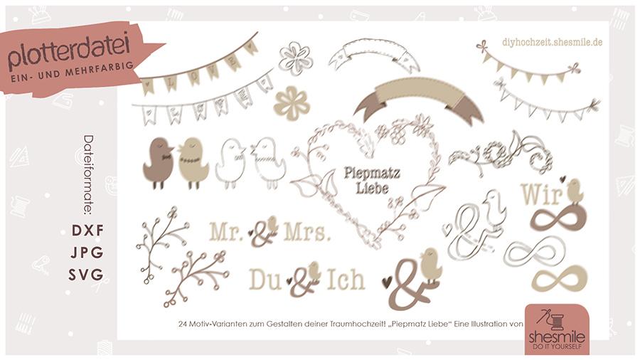 Piepmatz Liebe (Plotterdatei und  Illustration)