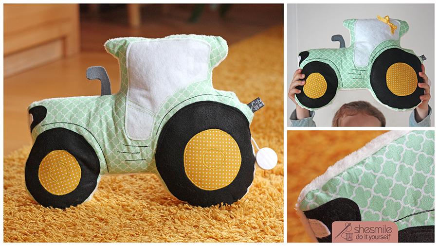 Traktor-Kuschelkissen Tom (Nähanleitung und Schnittmuster)