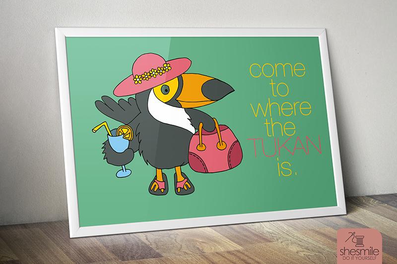 Tropischer Tukan (Illustration und Druckvorlage)