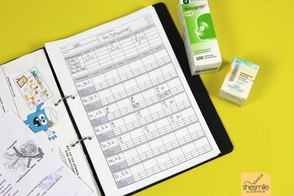 Medikamentenplan mit Krankheitsverlauf (Kostenlose Druckvorlage)