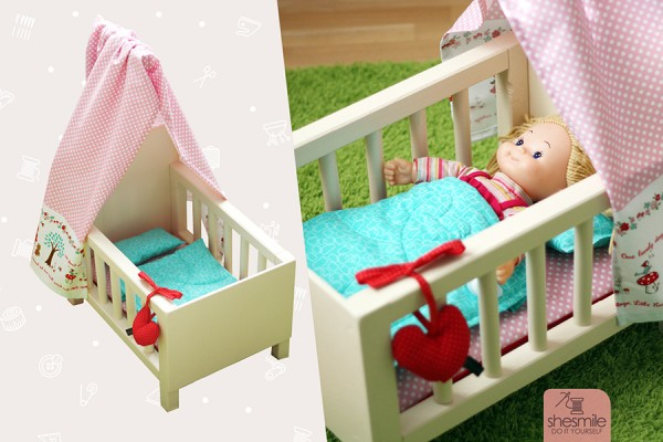 Puppenbett aus Holz mit Bettwäsche (Nähanleitung & Bauanleitung)