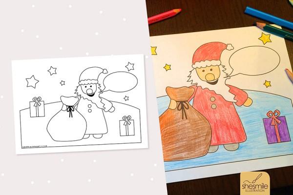 """Ausmalbild für Kinder """"Nikolaus"""" (Kostenlose Druckvorlage)"""
