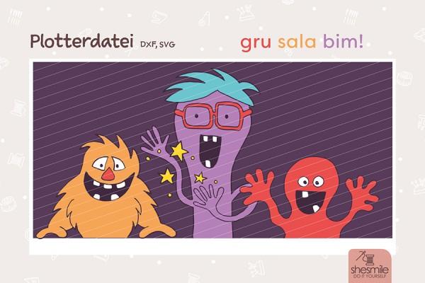 Gru Sala Bim - die 3 Monsterfreunde (Plotterdatei und Ausmalbild)