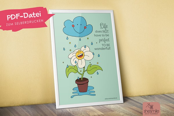 Blume im Regen (Illustration und Druckvorlage)