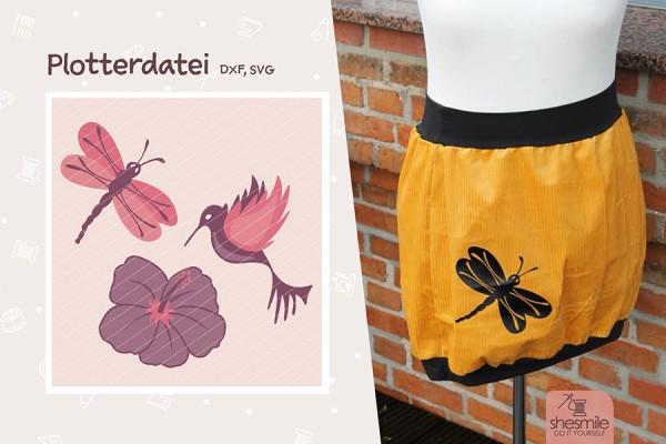 Hibiskus, Libelle und Kolibri (Plotterdatei)