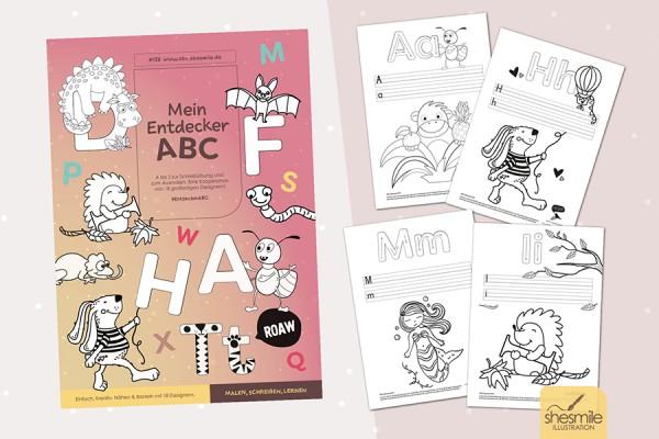 Entdecker-ABC zur Schreibübung und zum Ausmalen (Kostenlose Druckvorlage)