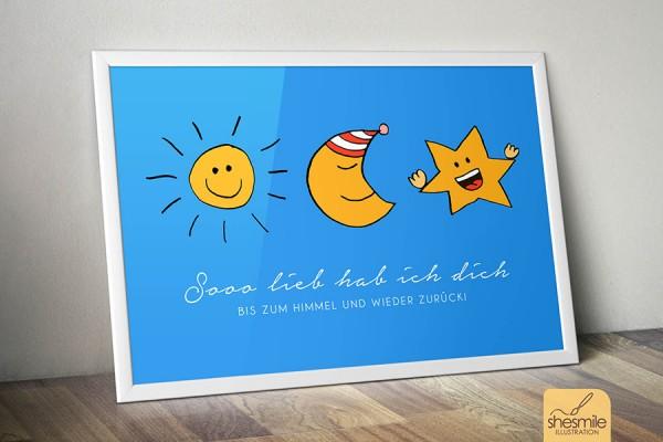 Sonne, Mond und Sterne (Illustration und Druckvorlage)