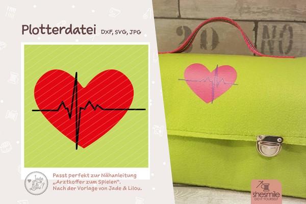 Herz mit Herzschlag (Plotterdatei)